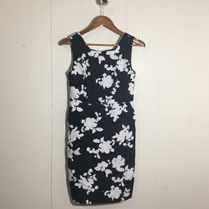 Navy and White Floral Dress